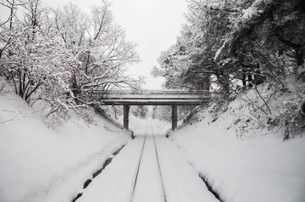 heavy white snow covered tracks on tsugaru railway line in aomori, tohoku, japan - goshogawara zdjęcia i obrazy z banku zdjęć