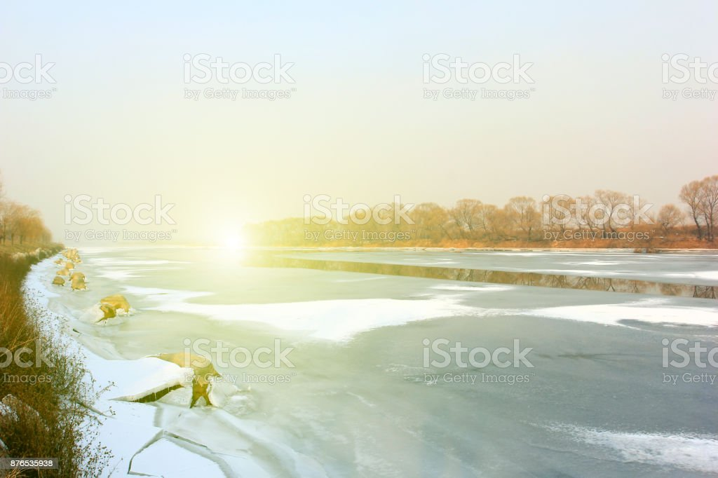 Hebei luanhe river natural scenery in winter, closeup of photo stock photo