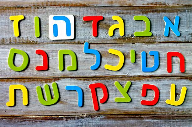 hebrew alphabet letters and characters background - pismo hebrajskie zdjęcia i obrazy z banku zdjęć