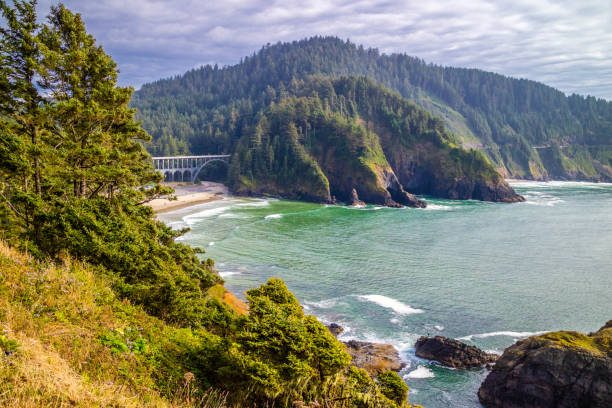Heceta Head Lighthouse State Park Scenic Viewpoint in Florence, Oregon stock photo