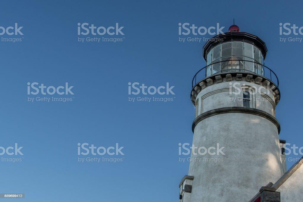 Heceta Head Lighthouse with Blue Sky stock photo