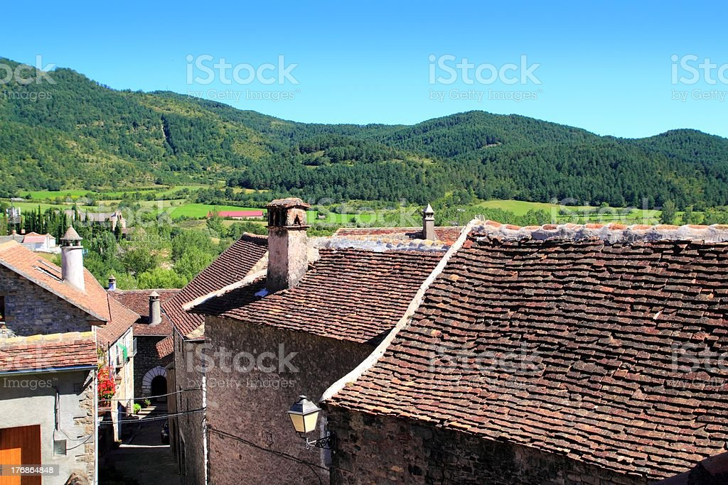 Hecho Valley Pyrenees village roof and mountain stock photo