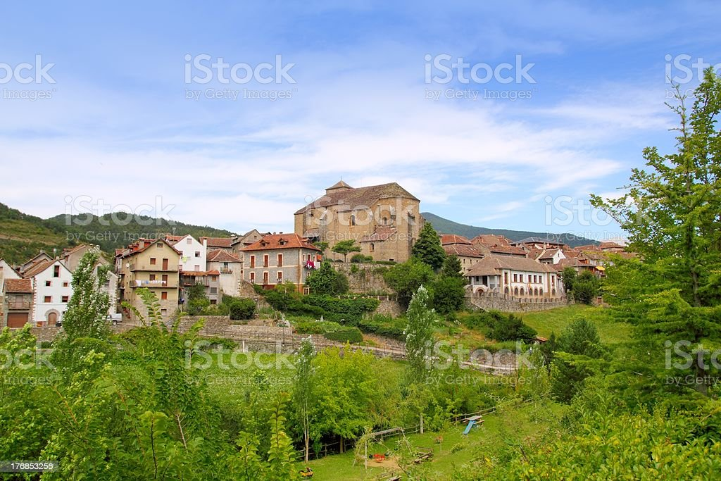 Hecho village Pyrenees with Romanesque church stock photo