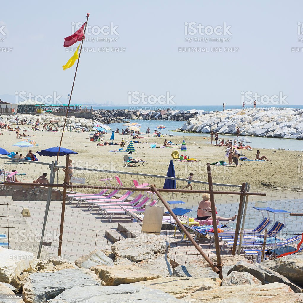 Hectic busy and colorful scene on an Italian beach royalty-free stock photo