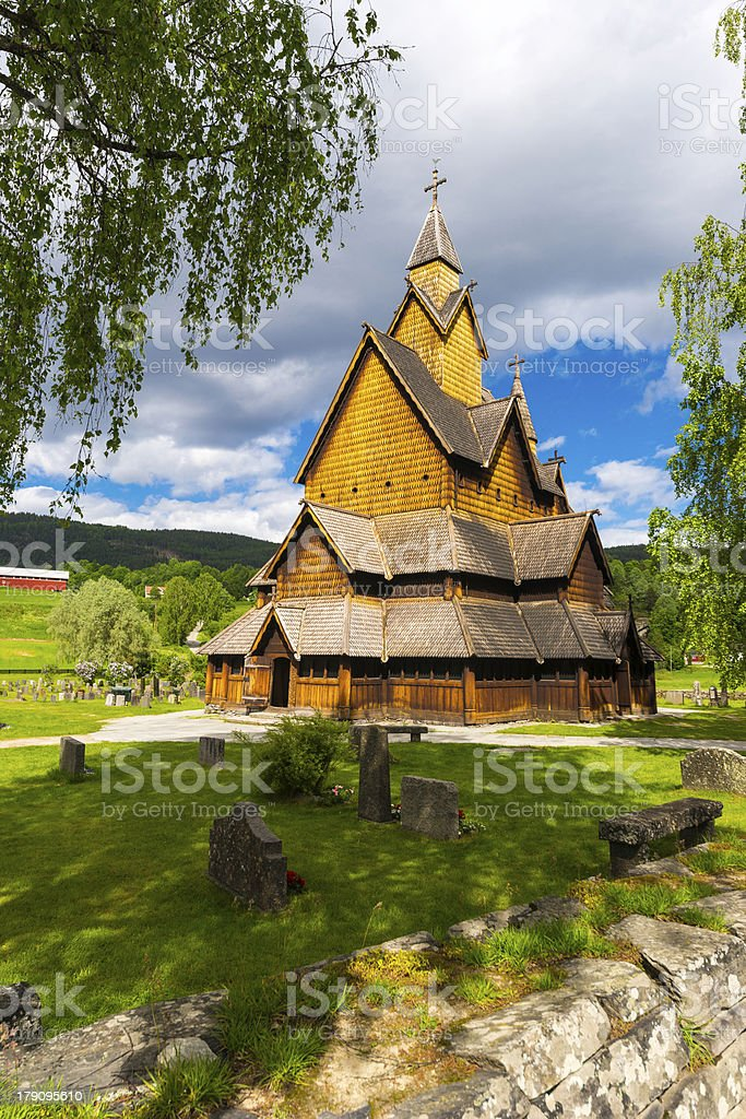 Heddal Church with Threes stock photo