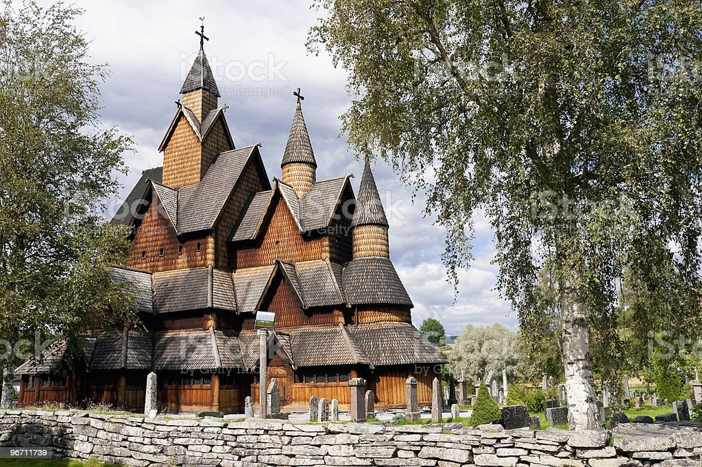 Heddal Stave Church in Norway stock photo