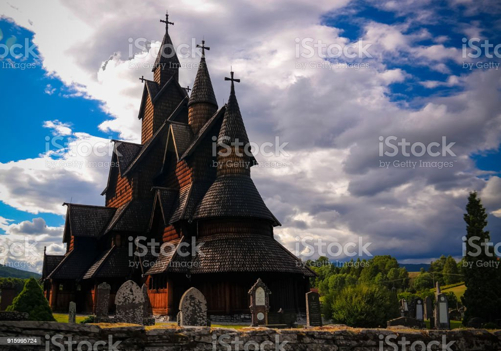 Heddal Stave Church, Notodden municipality, Norway stock photo