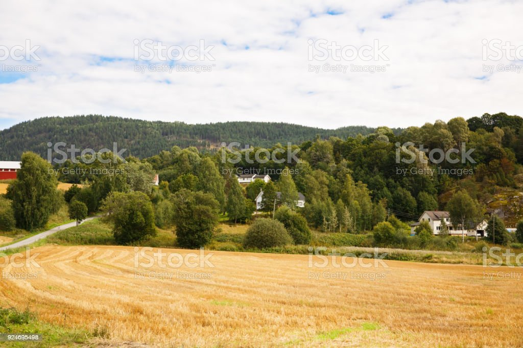 Heddal village stock photo