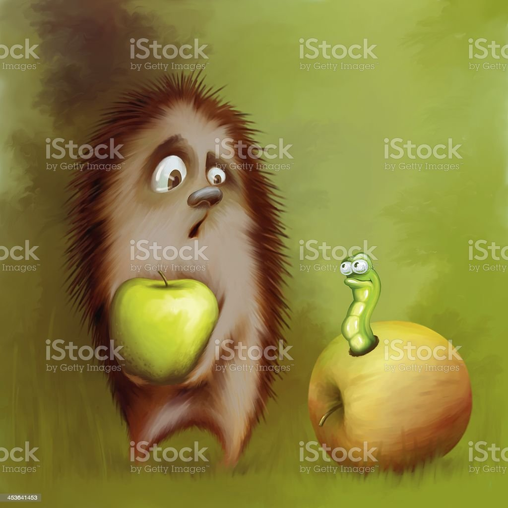 Hedgehog and Worm royalty-free stock photo