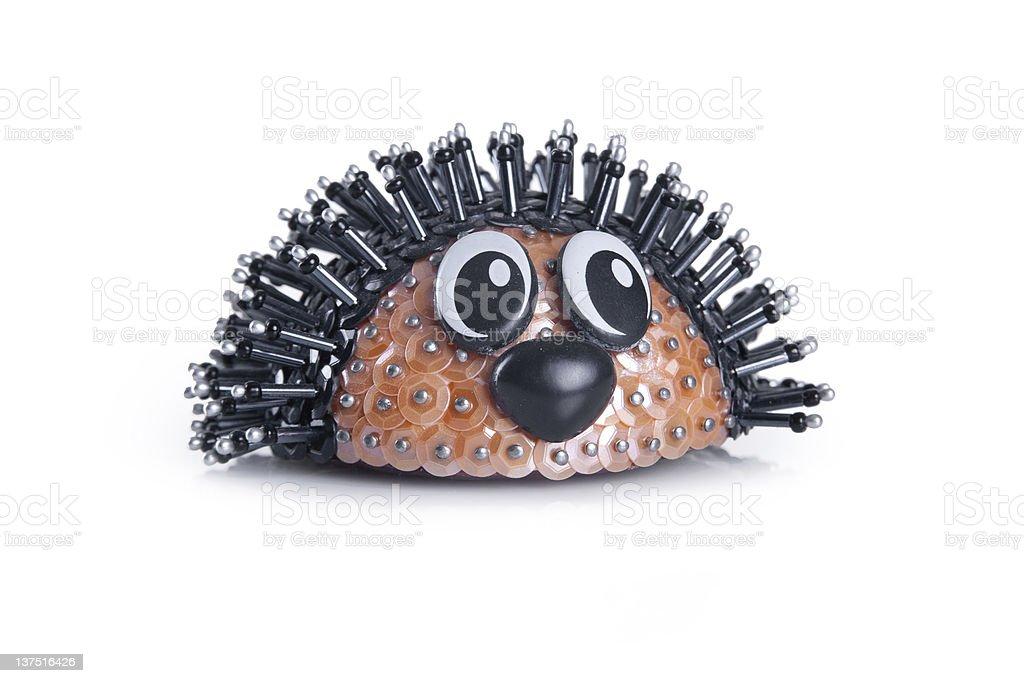hedgehog, made from beads. handmade stock photo