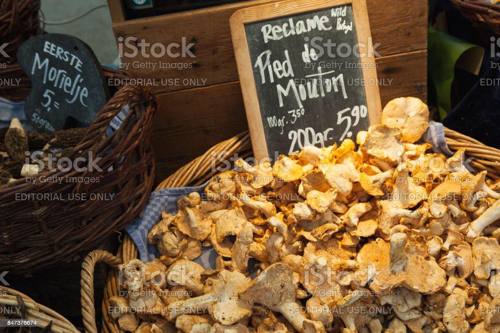 Hedgehog mushrooms. Goods of outdoor market stock photo