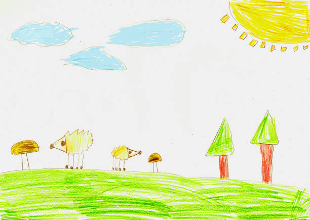Hedgehogs and mushrooms in the forest, child's drawing stock photo