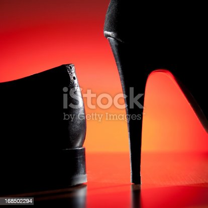 Male and women high heel shoes. Breaking up concept or man and woman business competition concept, love and passion, diversity concept...