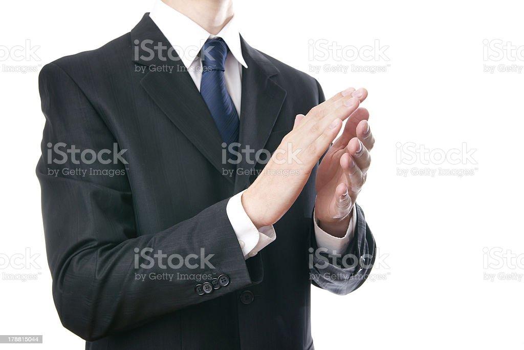 Сheering businessman stock photo