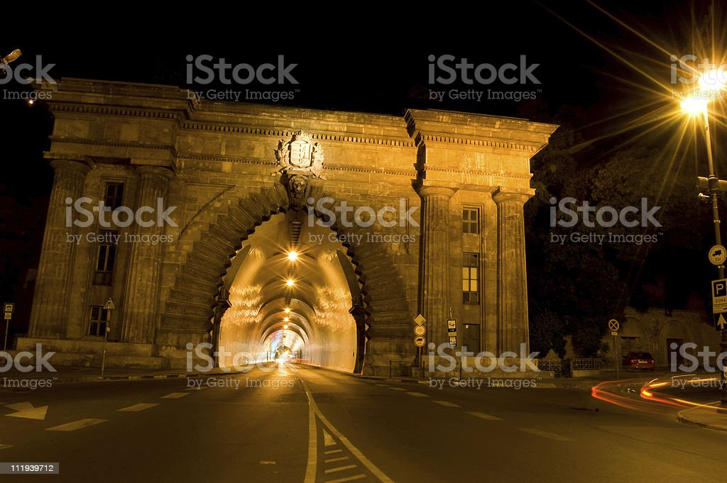 Hegyalja tunnel in Budapest by Night royalty-free stock photo