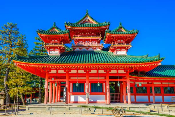 Kyoto, Japan - December 21, 2017: Heian-jingu Shrine in Kyoto, Japan.This Shrine is a Shinto shrine located in Sakyō-ku. Kyoto, Japan - December 21, 2017: Heian-jingu Shrine in Kyoto, Japan.This Shrine is a Shinto shrine located in Sakyō-ku. shrine stock pictures, royalty-free photos & images