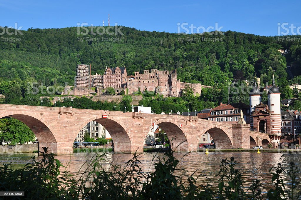 Heidelberg castle and old bridge stock photo