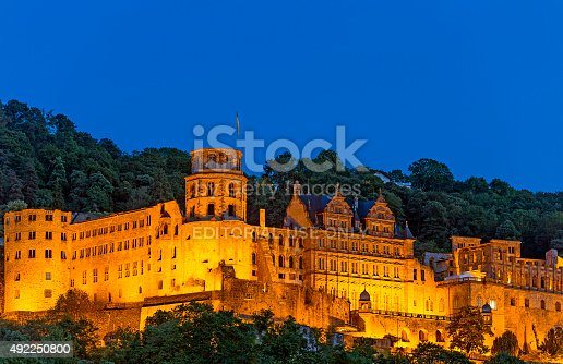Heidelberg, Germany - July 16, 2015: Illuminated Heidelberg Castle at Night