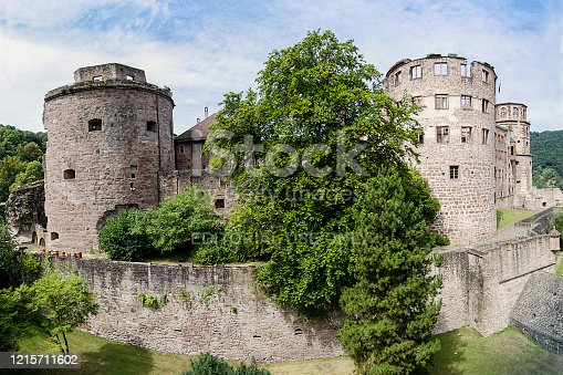 Heidelberg, Germany - July 29, 2018: Overview of Heidelberg Castle. one of the most famous German castles. Positioned on a hill overlooking the Neckar valley