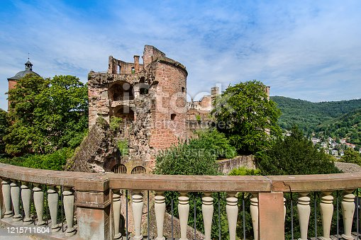 Heidelberg, Germany - July 29, 2018: Black and White photography of this old 16th century red sandstone castle in ruins on a hill.