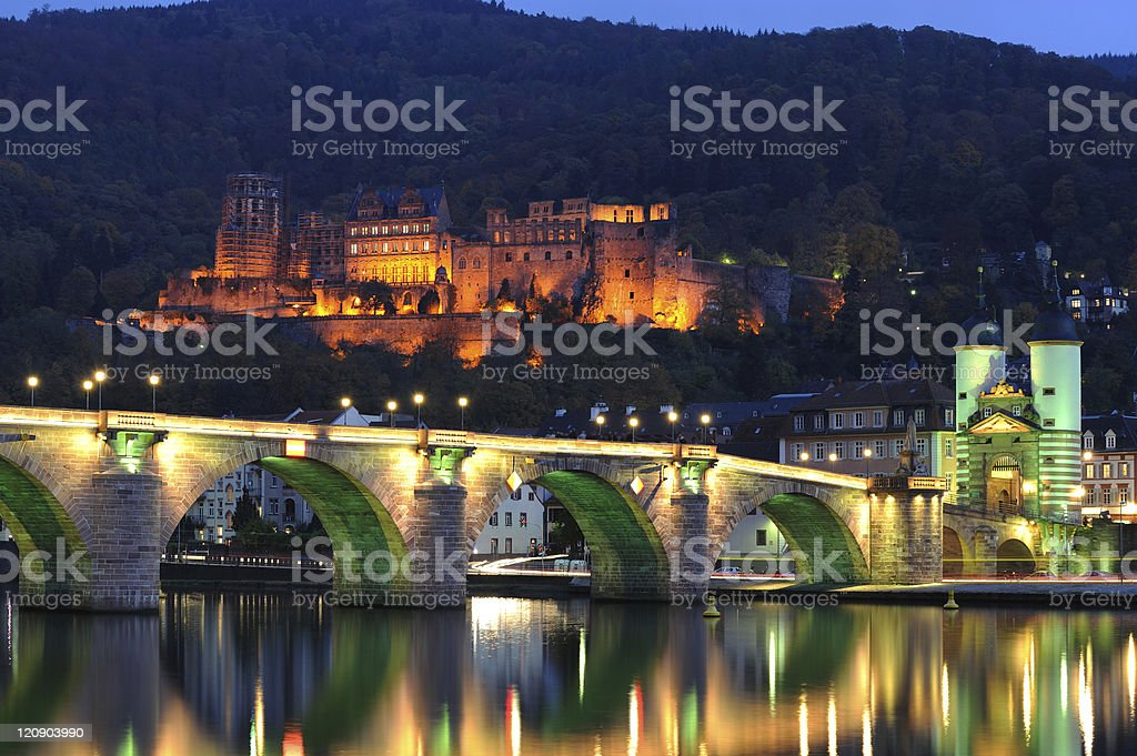 Heidelberg Illuminated Palace Bridge View Evening Summer royalty-free stock photo