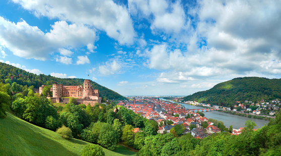 Heidelberg town in Germany and ruins of Heidelberg Castle in Spring