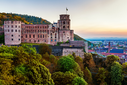 Heidelberg town with the famous Heidelberg castle, Heidelberg, Germany
