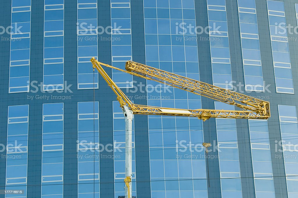 Height building. Abstract crop of modern office skyscraper. Vert stock photo