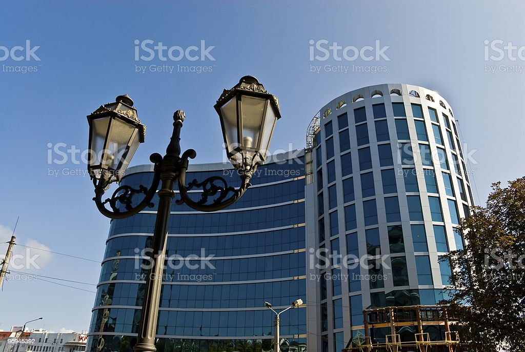 Height building with a round tower. royalty-free stock photo