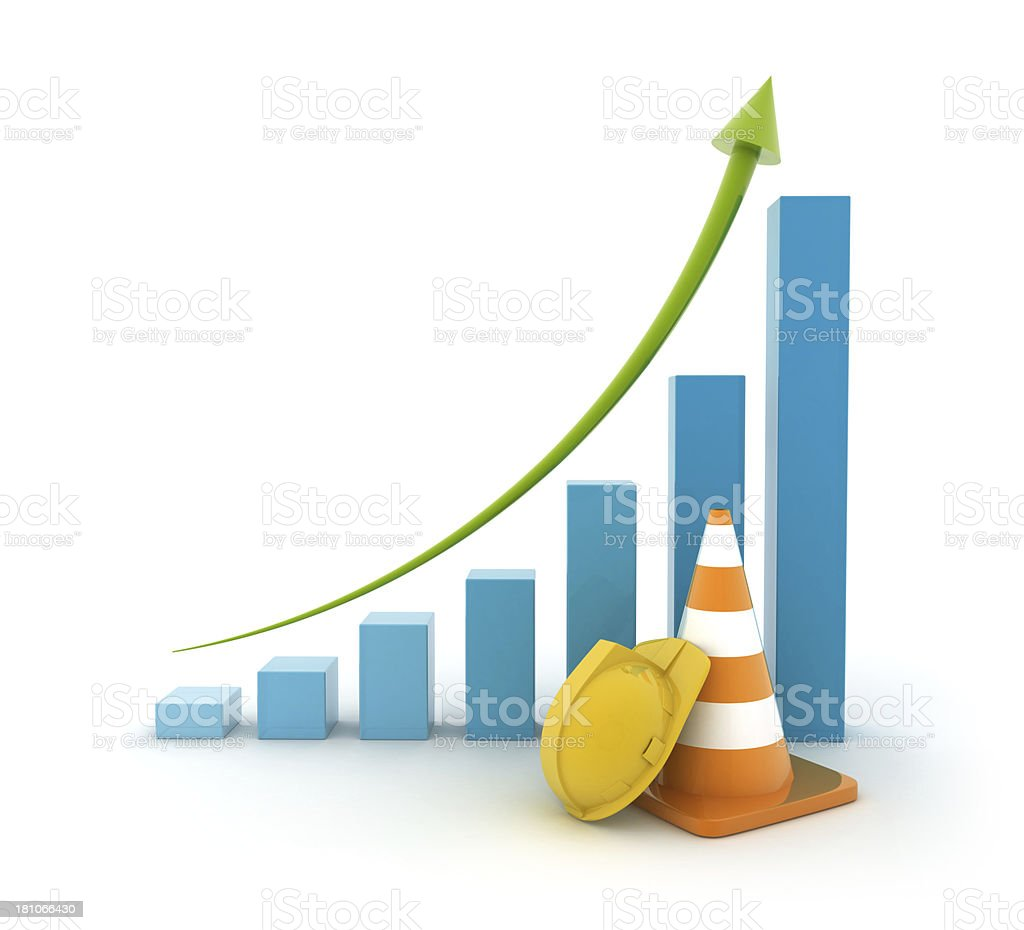 Height chart - Traffic cone and hard hat royalty-free stock photo