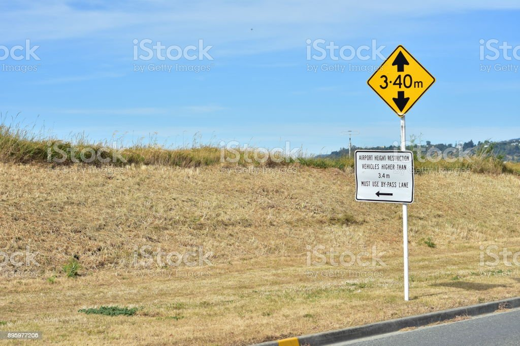 Height restriction road sign stock photo