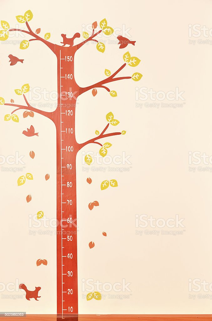 Height scale on the wall stock photo