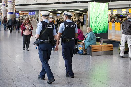 Frankfurt am Main, Germany - September 12, 2017: Police officers in dippemess in Frankfurt am Main, Germany.