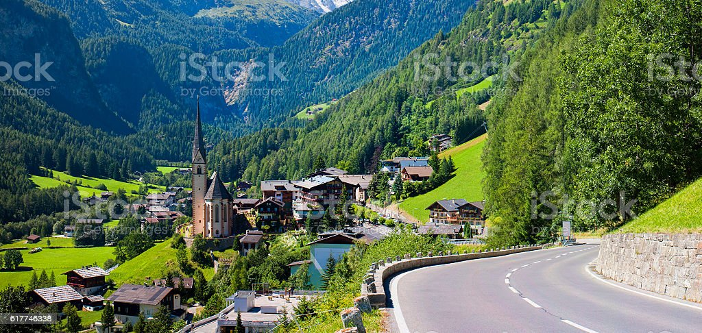 Heiligenblut church in Austria stock photo