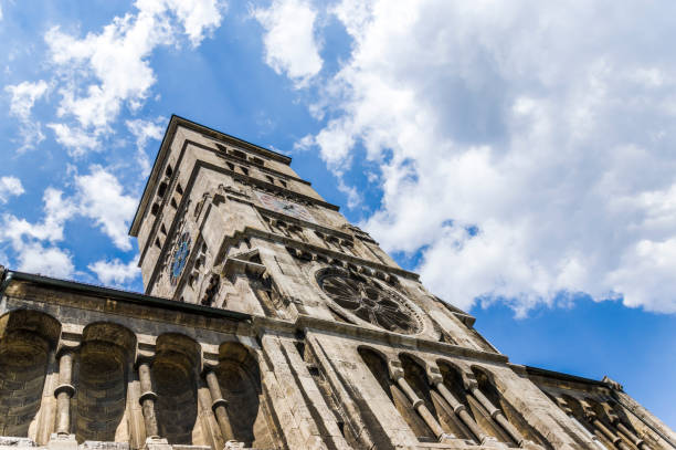 Heilig-Geist Church, a neo-Romanesque basilica with mighty bell tower in the town of Schweinfurt stock photo