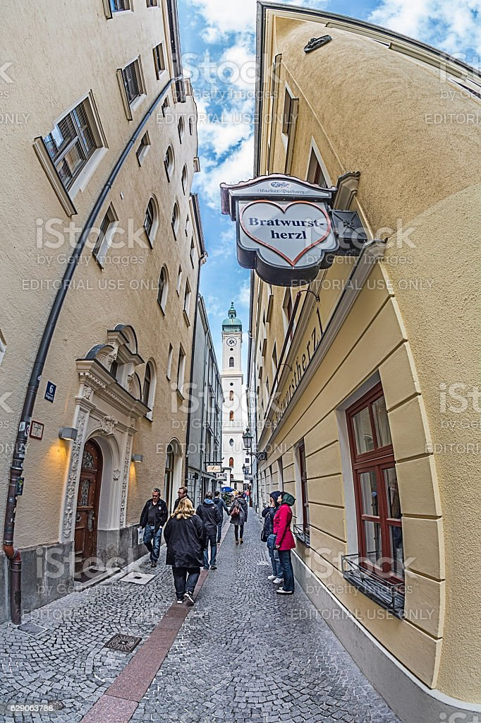 Heilig-Geist-Kirche tower from the Heiliggeiststrasse stock photo