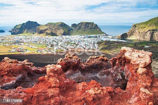 Heimaey Town Aerial View from Eldfell Volcano, Iceland, Westman Islands, Europe