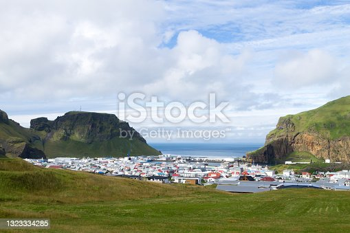 istock Heimaey town aerial view from Eldfell volcano. 1323334285