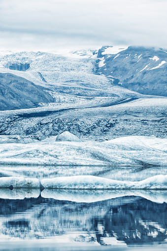 Lake and Ice-field of Heinabergsjökull Glacier