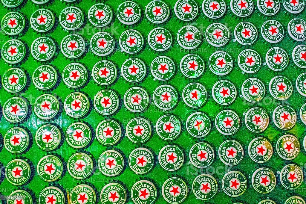 Heineken Beer Caps stock photo