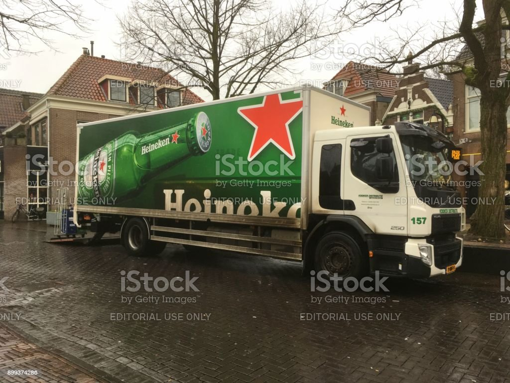Heineken delivery truck stock photo