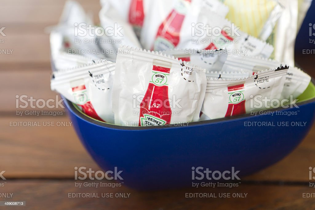 Heinz 57 ketchup packets stock photo