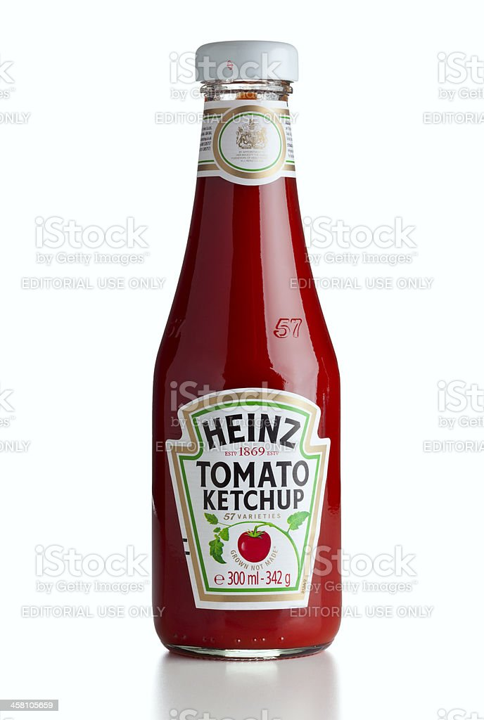 Heinz ketchup bottle isolated stock photo