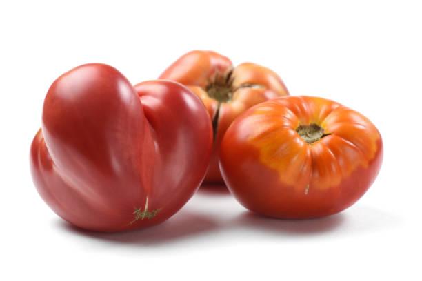 Heirloom fresh juicy tomatoes irregular in shape isolated stock photo