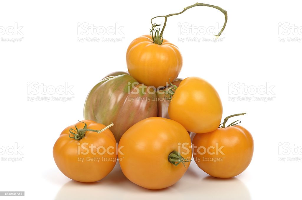 Heirloom Tomatoes isolated on white royalty-free stock photo