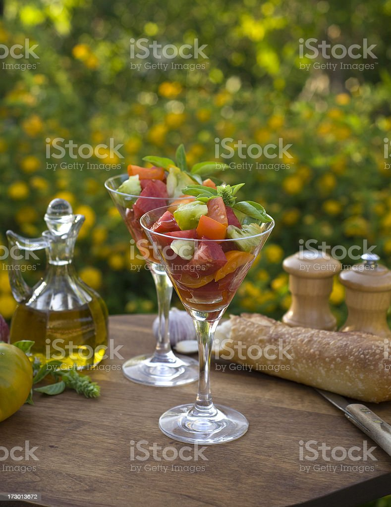 Heirloom Tomatoes Salad Appetizer, Vegetables & Summer Picnic Lunch royalty-free stock photo
