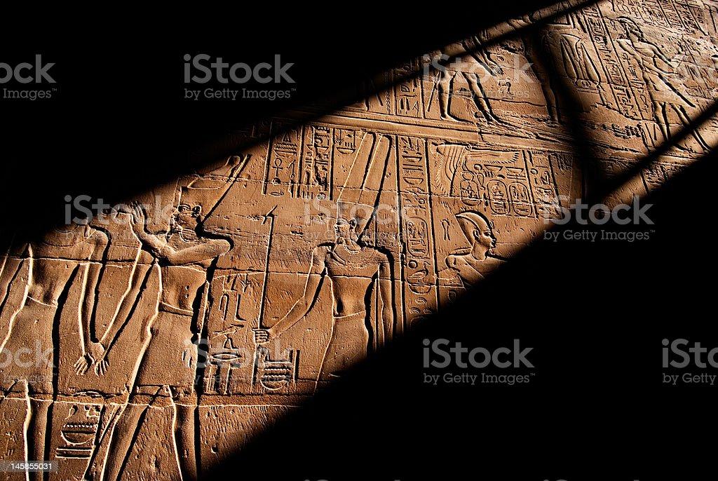 Heiroglyphics in the Luxor Temple, Egypt stock photo