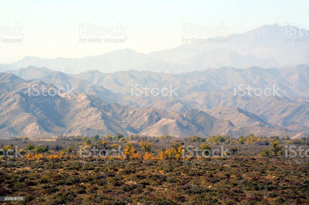 Helan mountains at Western Xia Tombs, Ningxia China stock photo