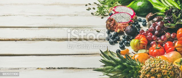 istock Helathy raw vegan food cooking background, copy space 932022300