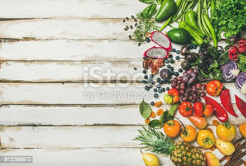 istock Helathy raw vegan food cooking background over white table 912266672